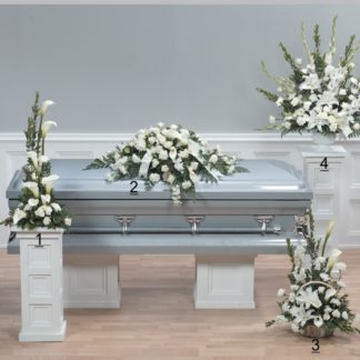 white innocence casket tribute