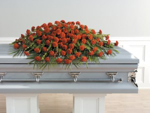 Carnation Closed Casket Funeral Spray