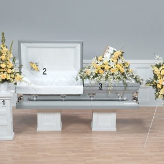 Yellow & White Open Casket Tribute with Orchids