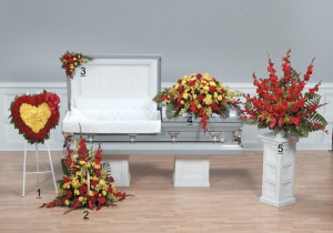 Red and Yellow open casket tribute for a man or woman