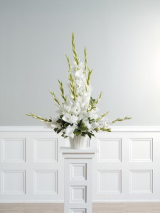 traditional white gladiolus arrangement