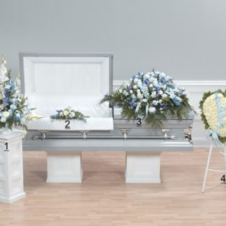 Blue and White funeral floral arrangement