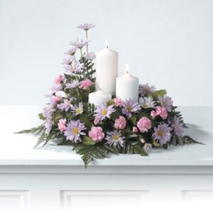 Pillar candle arrangement