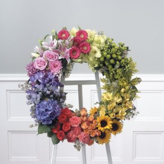 Colorful round Memorial Flower Wreath