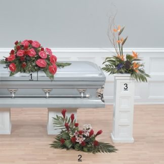 unique tropical paradise funeral tribute with elegant Birds of Paradise flowers and Anthurium.