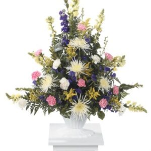 Traditional Basket of Mixed Flowers on a pedestal