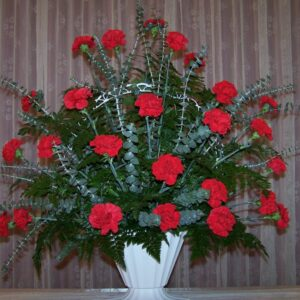 two dozen Red Carnations Basket