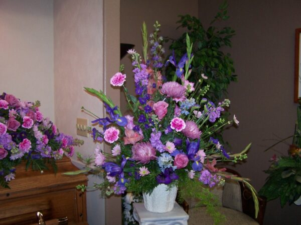 Purple Mixed Flower Arrangement in a vase