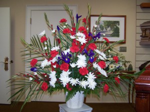 Traditional red white and blue flower Basket